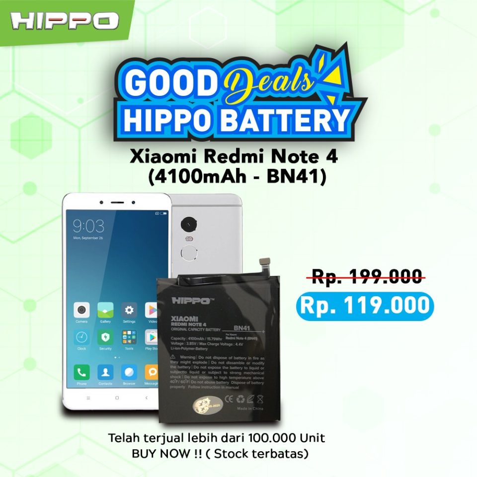 Battery Hippo Original Xiaomi Redmi Note 4
