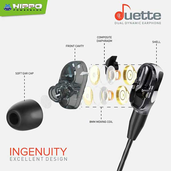 Hippo Earphone Duette